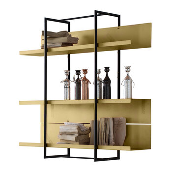 Wall Mounted Bookcase - Satin Brass