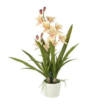 Faux Cymbidium Potted Orchid - Peach