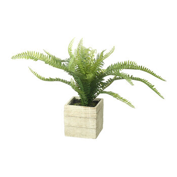 Faux Potted Fern - Green