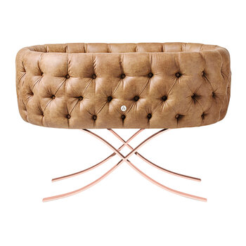 Tufted Bassinet With Curule Base - Cognac Eco Leather/Rose Gold