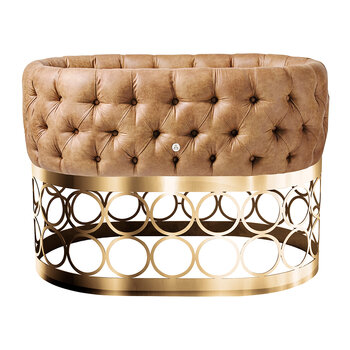 Tufted Bassinet With Rondo Base - Cognac Eco Leather/Gold