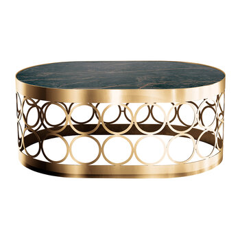 Ceramic Oval Top Coffee Table - Noir/Gold