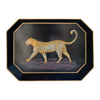 Hand-Painted Iron Tray - Leopard