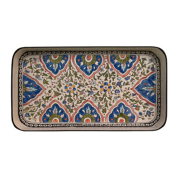 Persia Hand-Painted Iron Tray - Blue