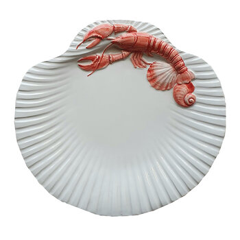 Shell Collection Lobster Plate - White/Red