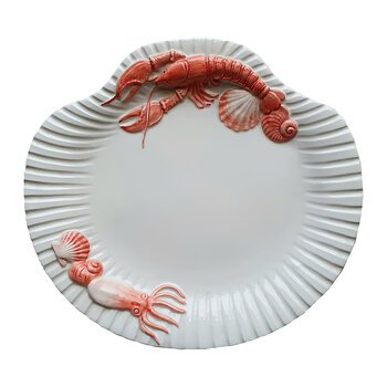Shell Collection Lobster Platter - White/Red