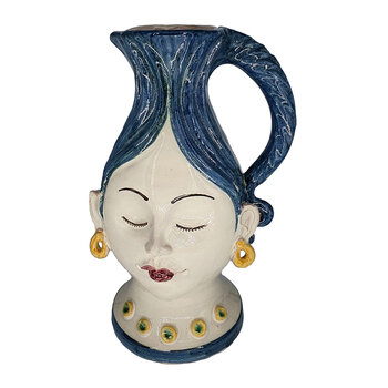 Sicily Woman Vase / Jug - Blue/White