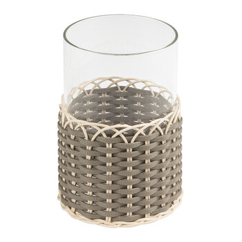 Wideville Leather & Rattan Candle Holder - Small - Mud