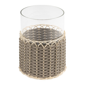 Wideville Leather & Rattan Candle Holder - Large - Mud