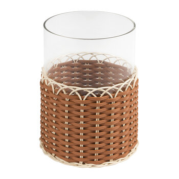 Wideville Leather & Rattan Candle Holder - Large - Siena