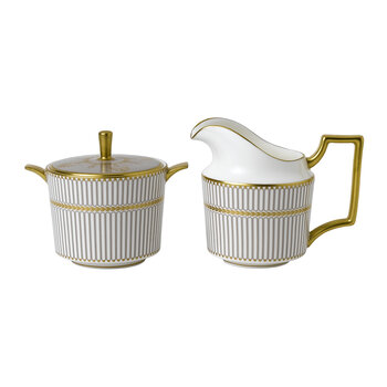 Anthemion Grey Covered Sugar and Cream Jug - White/Gold