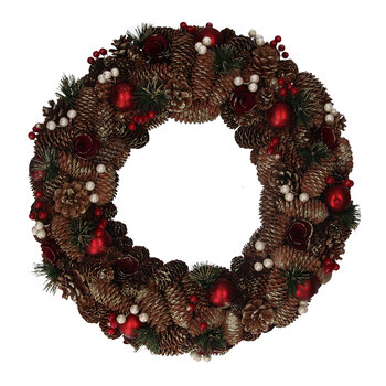 Cone & Berry Wreath With Baubles - Red/Green