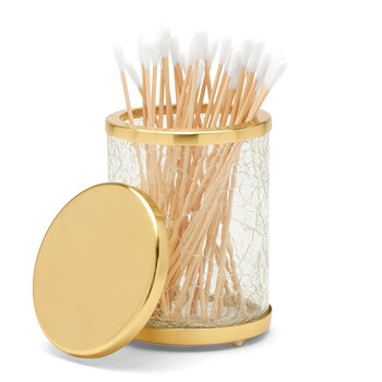 Pomaria Glass Canister - Small - Clear/Brushed Gold