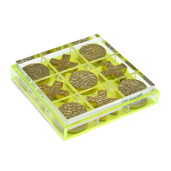 Alzey Acrylic Tic Tac Toe Game - Clear/Chartreuse