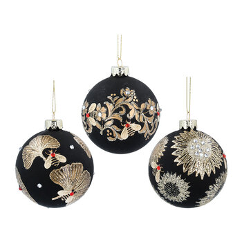 Glass Ball With Gold Leaves/Bee - Set of 6 - Black