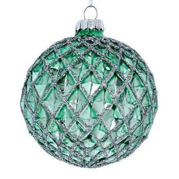 Dimpled Harlequin Tree Decoration - Set of 6 - Pale Green/Silver