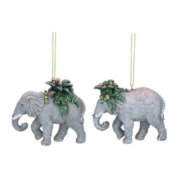 Elephant With Leaves Tree Decoration - Set Of 2 - Gray