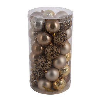 Set of 37 Assorted Baubles - Brown/Gold