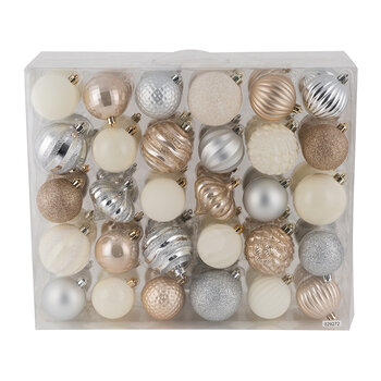 Set of 60 Assorted Baubles - Gold/Silver/Cream - Gold/Silver/Cream