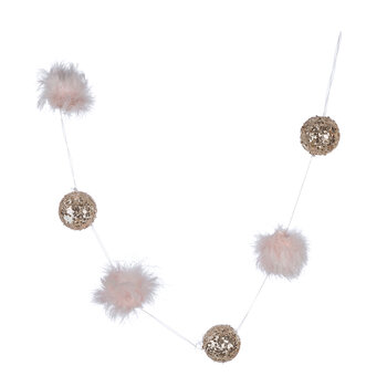 Sequin & Feather Bauble Garland - Pink/Silver