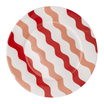 Scallop Dinner Plate - Pink & Red
