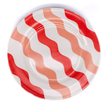 Scallop Salad Plate - Pink & Red
