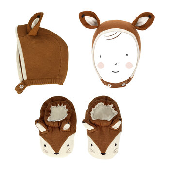 Fox Baby Bonnet and Booties Set - Brown