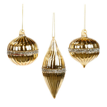 Glass Ringed & Ribbed Tree Decoration - Set Of 3 - Gold