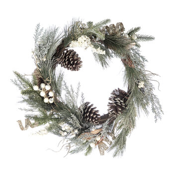 Frosted Bristle Leaf Wreath - Gold