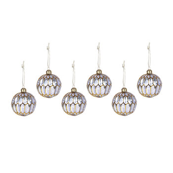Frosted Segment Ball Tree Decoration - Set Of 6 - Lilac/Gold
