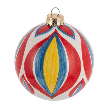 Hand Painted Tree Decoration - Red/Blue