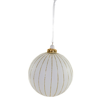Gold Lines Tree Decoration - White