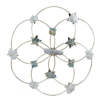 Flower of Life Tranquillity Crystal Grid - Silver/Blue Ombre