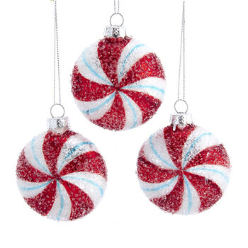 Glitter Candy Tree Decoration - Set of 3 - Red/White