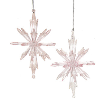 Snowflake Tree Decoration - Set Of 4 - Pink/Clear