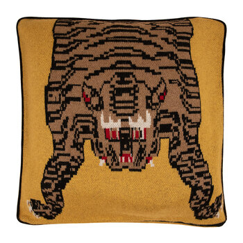 Tiger Cashmere Pillow - Yellow