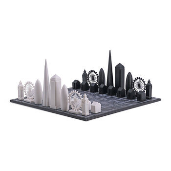 Acrylic Chess Set with Wooden Board - London