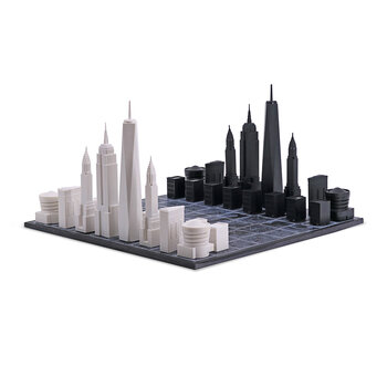 Acrylic Chess Set with Wooden Board - New York