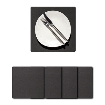 Core Square Placemat -  Set of 4 - Flecked Anthracite - Small