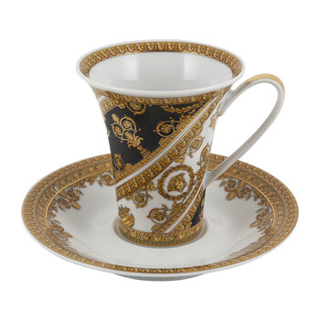 I Love Baroque Coffee Cup & Saucer - Black/Gold