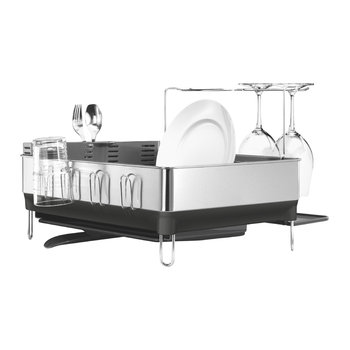 Brushed Steel & Gray Dish Rack/Wine Glass Holder