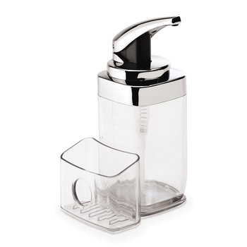 Square Chrome Push Pump Soap Dispenser with Caddy