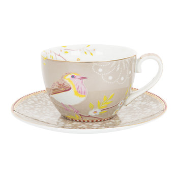 Early Bird Cappuccino Cup & Saucer - Khaki