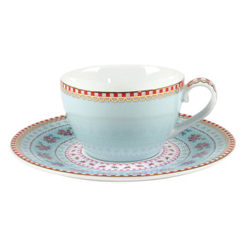 Ribbon Rose Espresso Cup & Saucer - Blue