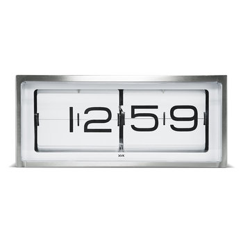 Brick 24H Wall/Desk Clock - Steel/White