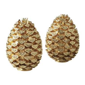 Pine Cone Salt & Pepper Shakers - Gold