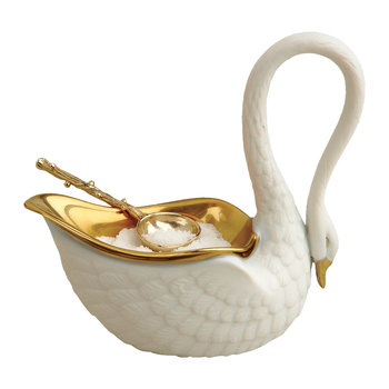 Swan Salt Cellar & Gold Plated Spoon - White