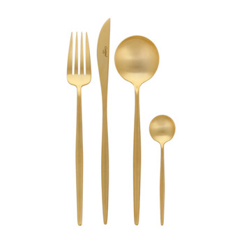 Moon Flatware Set - 24 Piece - Matt Gold