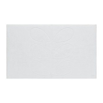 Stem Jacquard Bath Mat - White