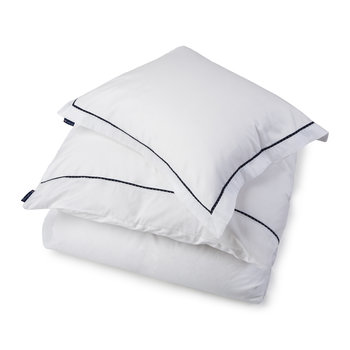 Sateen White Duvet Cover with Blue Star Frame